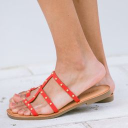 It All Makes Sense Red Orange Studded Sandals | The Mint Julep Boutique