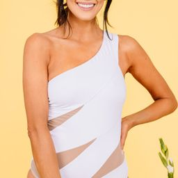 Clear Skies Ahead White Cut-out One Piece | The Mint Julep Boutique