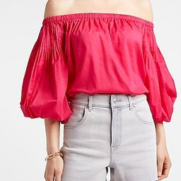 Pleated Off The Shoulder Balloon Sleeve Thong Bodysuit | Express