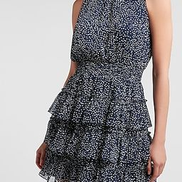 Printed Tiered Sleeveless Smocked Mock Neck Dress | Express