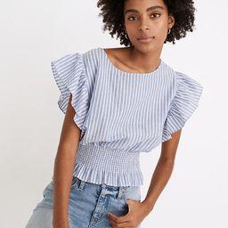 Flutter-Sleeve Smocked Top in Stripe | Madewell