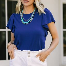 Darling Detail Royal Blue Ruffle Sleeve Top | The Mint Julep Boutique