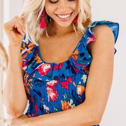 Flirty Feeling Blue Floral Tank | The Mint Julep Boutique