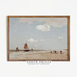 Beach Painting   Vintage Sailboat Oil Painting Decor   Antique Nautical PRINTABLE   72   Etsy (US)