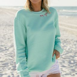 Sea You Later Mint Green Embroidered Corded Sweatshirt | The Mint Julep Boutique