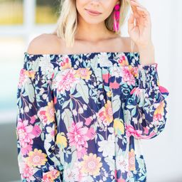 Happiness Acquired Navy Blue Floral Blouse | The Mint Julep Boutique