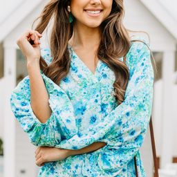 This Is For You Royal Blue Ditsy Floral Blouse | The Mint Julep Boutique