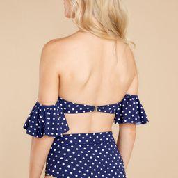 Always In The Sun Navy Polka Dot Bikini Top | Red Dress