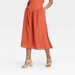Women's Yoke-Front Midi Skirt - A New Day™   Target