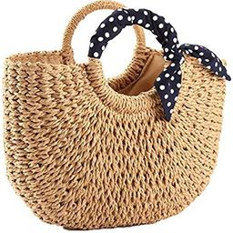 YXILEE Summer Beach bag,Handmade Large Straw Tote Bag Womens Handbag (Khaki)   Amazon (US)