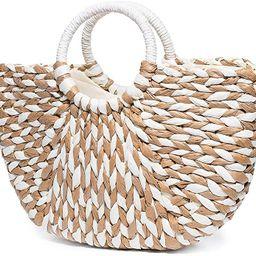 JOSEKO Summer Beach Bag, Women Straw Paper Handbag Top Handle Big Capacity Travel Tote Purse   Amazon (US)