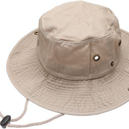 Summer Outdoor Boonie Hunting Fishing Safari Bucket Sun Hat with Adjustable Strap   Amazon (US)
