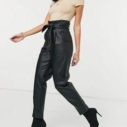 ASOS DESIGN leather look tie waist peg pant in black   ASOS (Global)