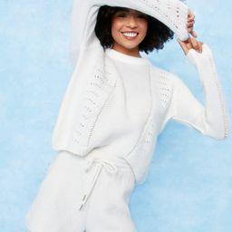 Pointelle Knit Crop Sweatshirt and Short Lounge   NastyGal