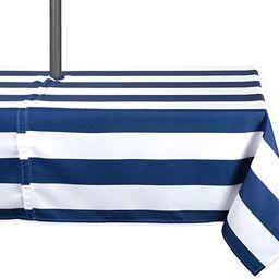 DII Blue Cabana Stripe Outdoor Tablecloth With Zipper, 60x84 w Nautical | Amazon (US)