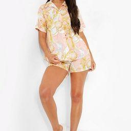 Shell Print Short Sleeve Shirt & Shorts Set   Boohoo.com (US & CA)