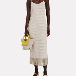 Mamie Fringed Tweed Midi Dress   INTERMIX