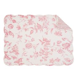 Lydia Placemat Set of 6 Red Toile Place Table Mats Rectangular Quilted Reversible Washable Cotton... | Walmart (US)