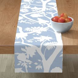 Table Runner Floral Silhouette Peony Chinoiserie Cornflower Blue Cotton Sateen | Walmart (US)