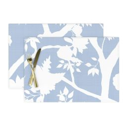 Cloth Placemats Floral Silhouette Peony Chinoiserie Cornflower Blue Set of 2 | Walmart (US)
