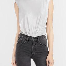 Metallic Sleeveless Padded Shoulder Thong Bodysuit Gray Women's L | Express