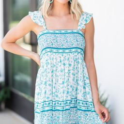 It's A Dream Turquoise Green Mixed Floral Dress | The Mint Julep Boutique