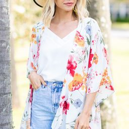 On The Move White Floral Kimono | The Mint Julep Boutique