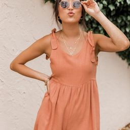 Stepping Out Rust Tie Sleeve Romper | The Pink Lily Boutique