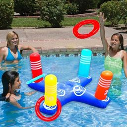 Inflatable Ring Toss Pool Game Toys Floating Swimming Pool Ring with 4 Pcs Rings for Multiplayer ... | Walmart (US)