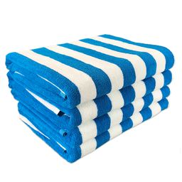 """Arkwright Cabana Beach Towel Pack of 4 - Extra Large Size - 30"""" x 70"""" - Blue Stripes - Ring-Spun ...   Walmart (US)"""