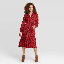 Women's Floral Print Long Sleeve Tie Waist Shirtdress- A New Day Red XS | Target