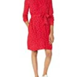 Amazon Essentials Women's Long-Sleeve Banded Collar Shirt Dress, Red Leaf, Small | Amazon (US)