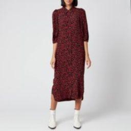 Ganni Women's Leaf Print Crepe Shirt Dress - Black/Red - EU 36/UK 8 | Coggles (Global)
