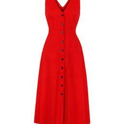Sucrefas Women's Casual Dresses Red - Red Sleeveless V-Neck Shirt Dress - Women | Zulily