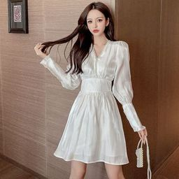 Long-Sleeve V-Neck Satin Mini Dress | YesStyle Global