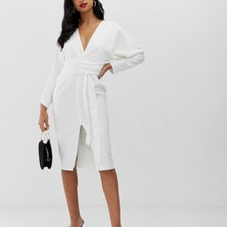 ASOS DESIGN midi dress with batwing sleeve and wrap waist in satin-White | ASOS (Global)