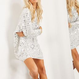 ASOS EDITION mini batwing dress with mirror disc sequins-White | ASOS (Global)