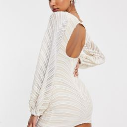 Club L London striped sequin gathered sleeve mini dress in ivory-White | ASOS (Global)