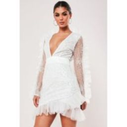 White Embellished Lace Frill Sleeve Mini Dress | Missguided (US & CA)