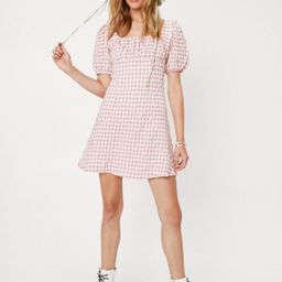 Ruched Bust Gingham Puff Sleeve Mini Dress | NastyGal