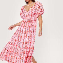 Puff Sleeve Floral Print Wrap Maxi Dress | NastyGal