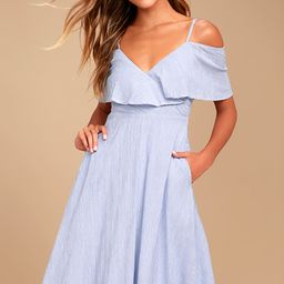 Yacht Rock Blue and White Striped Off-the-Shoulder Midi Dress | Lulus (US)