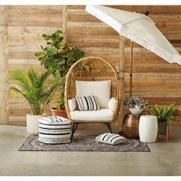 Better Homes and Gardens Ventura Boho Stationary Wicker Egg Chair with Cream Cushions   Walmart (US)