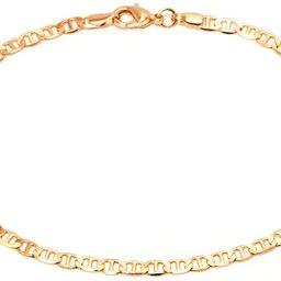 Gold Anklet for Women Flat Mariner Anklet | Barzel 18K Gold Plated Flat Marina Link Anklet for Wo... | Amazon (US)