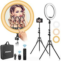 """Ring Light 18 inch,Jeemak 18""""/48cm Outer 55W 2700K- 6500K, CRI 95, Ring Light with Stand & Phone ...   Amazon (US)"""
