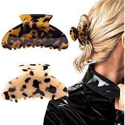 2PCS Hair Claw Banana Clips tortoise Barrettes Celluloid French Design Barrettes celluloid Leopar...   Amazon (US)