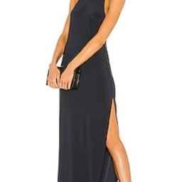 Norma Kamali Halter Turtle Side Slit Gown in Pewter from Revolve.com   Revolve Clothing (Global)