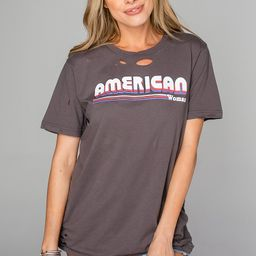 Russell Distressed Graphic Tee - American Woman | BuddyLove