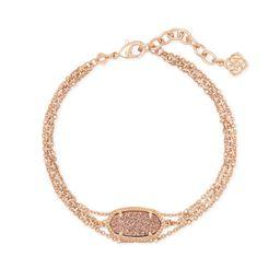 Elaina Rose Gold Multi Strand Bracelet in Rose Gold Drusy | Kendra Scott