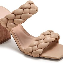 Womens Braided Heeled Sandals Backless Square Open Toe Block Strappy Slip On Slide Shoes | Amazon (US)